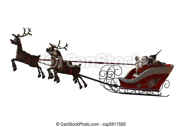Santa Claus and his reindeers - csp5911593