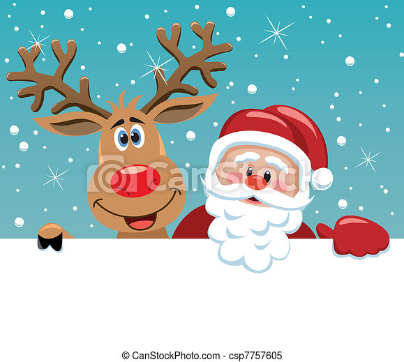 santa claus and rudolph deer - csp7757605