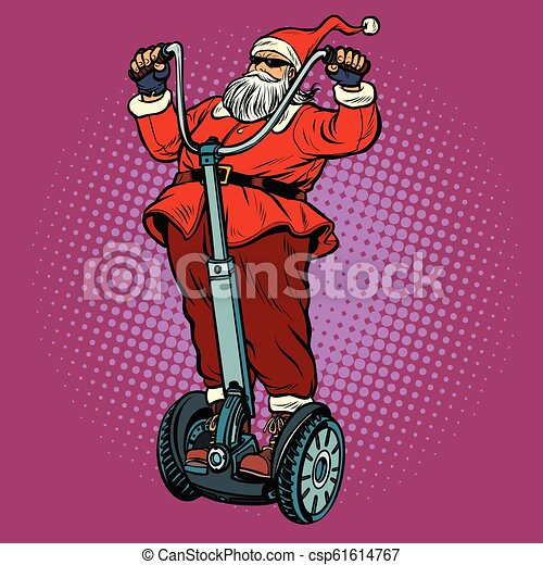Biker Christmas.Santa Claus Biker With Christmas Gifts Rides An Electric Scooter