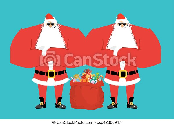 santa claus bodyguards christmas security guards protecting red bag for new year defenders - Santa Claus Red