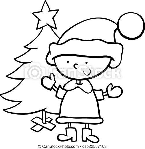 Santa Claus Boy Cartoon Coloring Page Black And White Cartoon