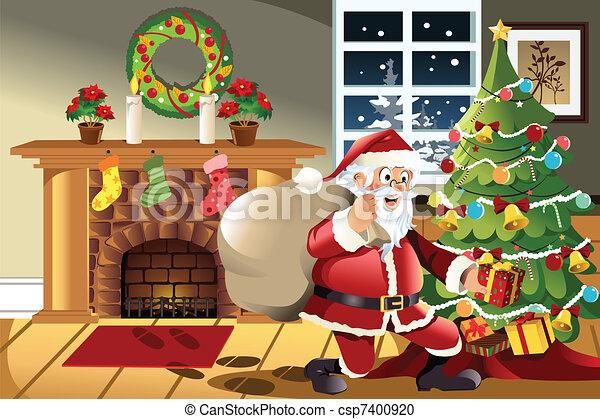 santa claus carrying christmas presents csp7400920 - Santa Claus With Presents