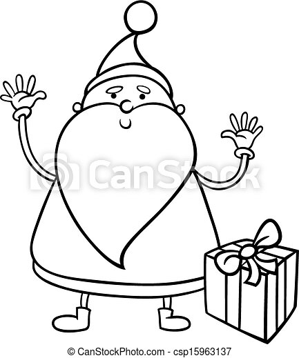 santa claus cartoon coloring page csp15963137