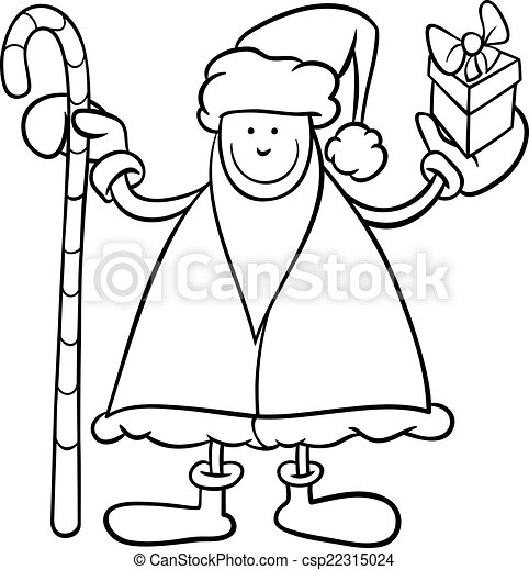 santa claus cartoon coloring page csp22315024