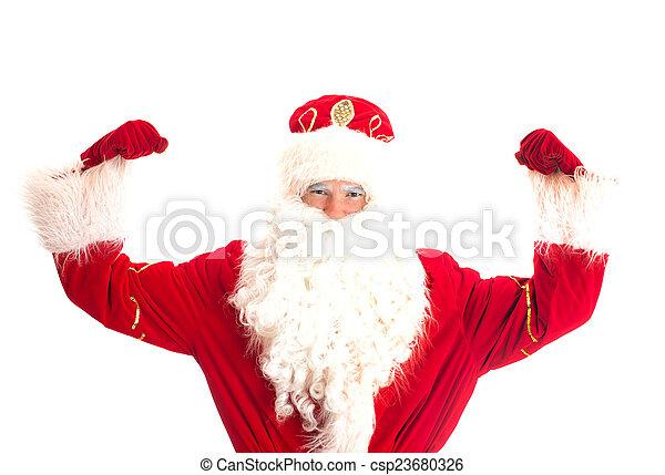 Santa Claus - champion. Isolated on white. - csp23680326