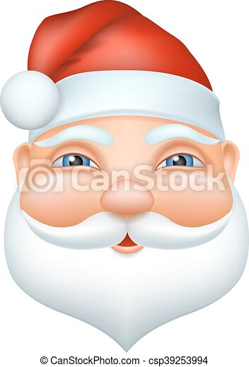 d057a48826b4b2 Santa claus cheerful face. vector christmas illustration in cartoon 3d  realistic style. grandpa with a white beard and mustache, a red cap.