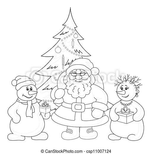 Santa Claus Christmas Tree And Snowmans Outline Holiday Cartoon