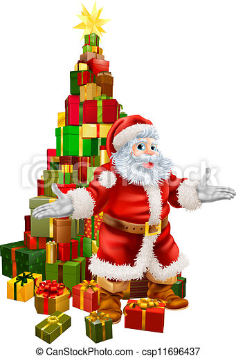 santa claus christmas tree gifts csp11696437