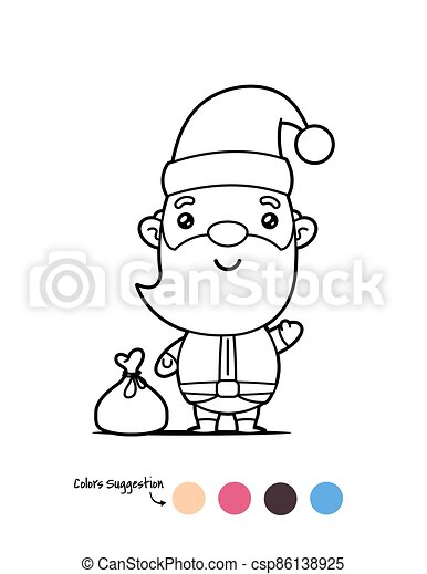 Santa Claus Coloring Page Happy Kawaii Santa Claus Christmas Coloring Page Vector Cartoon Illustration Canstock