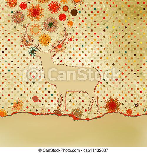 Santa Claus Deer vintage Christmas card. EPS 8 - csp11432837