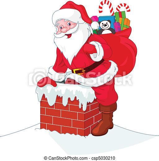 Santa Claus desciende de la chimenea - csp5030210