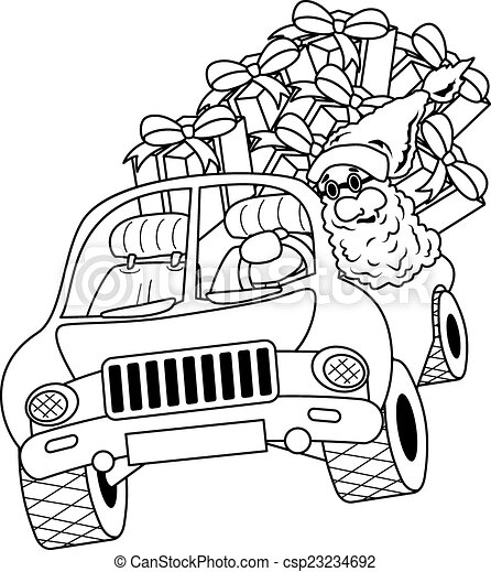 santa in a car images coloring pages | Santa claus driving car with christmas gifts. Illustration ...