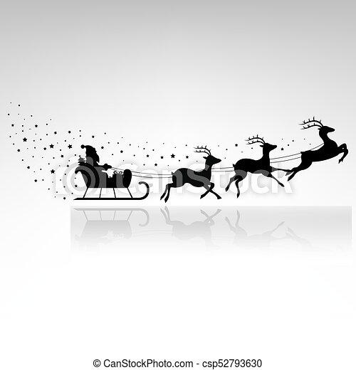 Santa Claus Driving In A Sledge - csp52793630