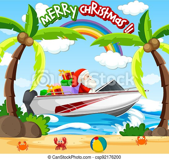 Santa Claus driving speed boat on the beach scene - csp92176200