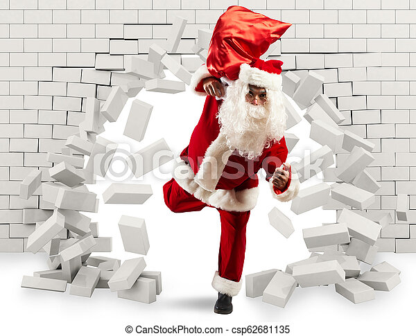 Santa Claus enters to deliver the gift by making a hole in the wall - csp62681135