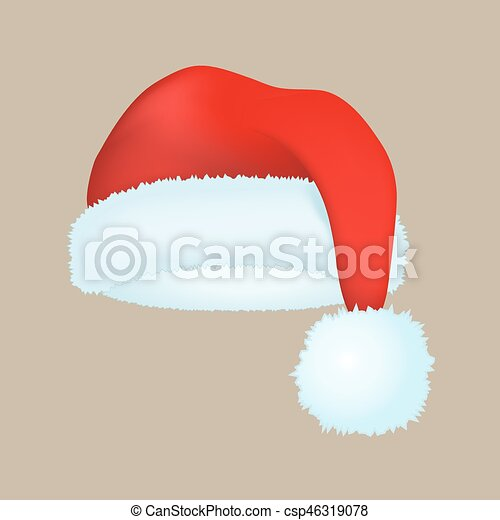 Santa claus fashion red hat modern elegance cap winter xmas holiday top clothes vector illustration. - csp46319078
