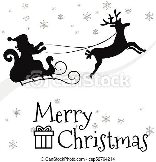 Santa Claus Flying With Reindeer Sleigh 2 Black Silhouette Santa