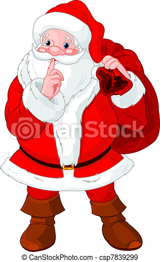 Santa Claus gesturing shush - csp7839299