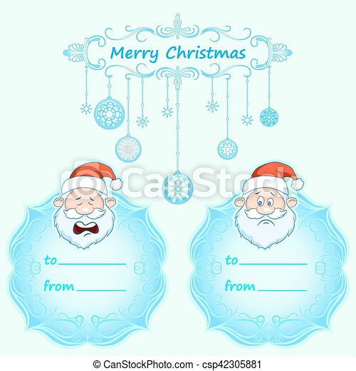 Santa Claus Gift cards. Christmas with vintage frame and Christmas wishes in English winter. - csp42305881