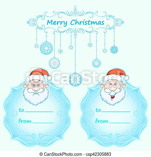 Santa Claus Gift cards. Christmas with vintage frame and Christmas wishes in English winter. - csp42305883