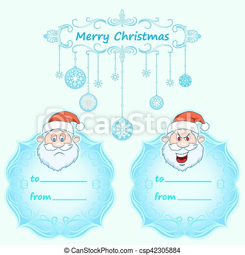 Santa Claus Gift cards. Christmas with vintage frame and Christmas wishes in English winter. - csp42305884