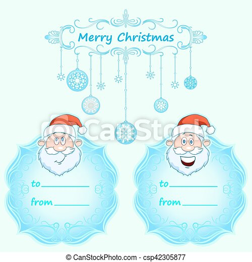 Santa Claus Gift cards. Christmas with vintage frame and Christmas wishes in English winter. - csp42305877