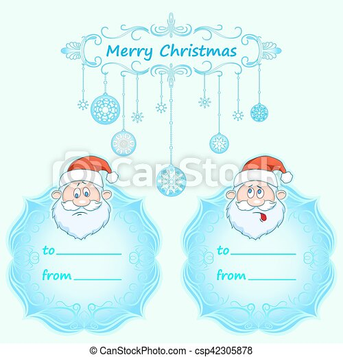 Santa Claus Gift cards. Christmas with vintage frame and Christmas wishes in English winter. - csp42305878