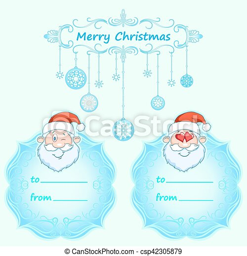 Santa Claus Gift cards. Christmas with vintage frame and Christmas wishes in English winter. - csp42305879