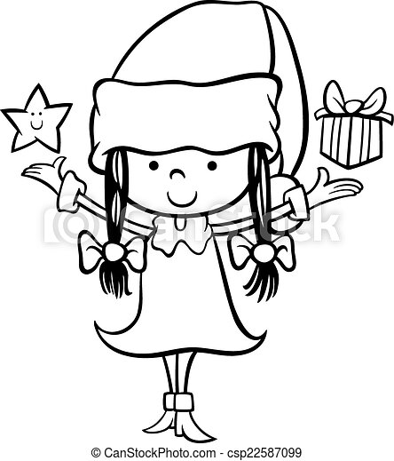 santa claus girl cartoon coloring page csp22587099