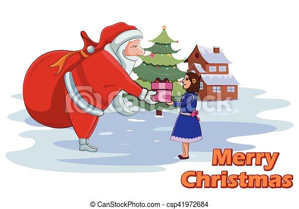 santa claus giving christmas gift to girl csp41972684 - Santa Claus Gifts