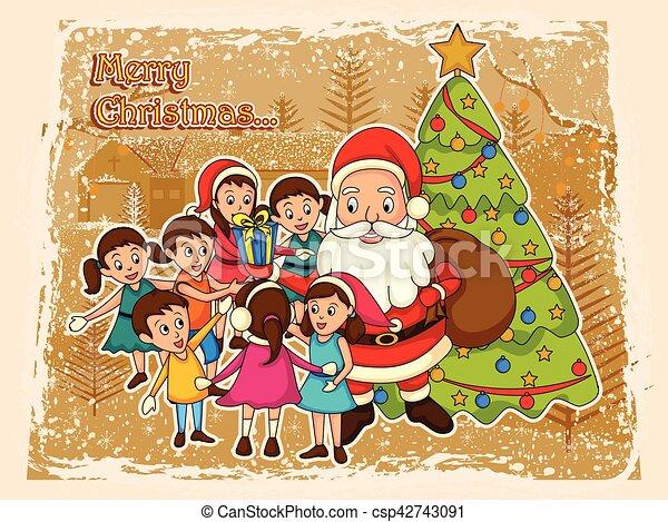 Christmas Giving.Santa Claus Giving Kids Christmas Holiday Gift