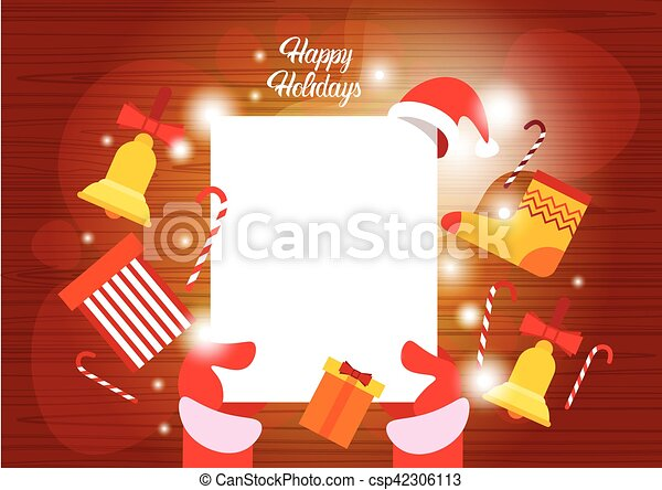 Santa claus hands empry paper sheet merry christmas happy new year ...