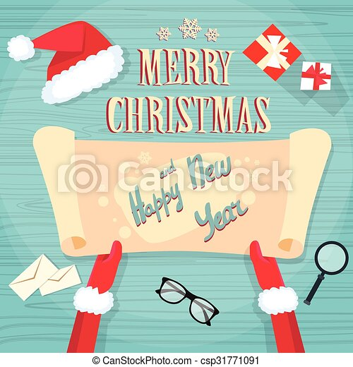 Santa Claus Hands Scroll Old Paper Merry Christmas Wish List   Csp31771091