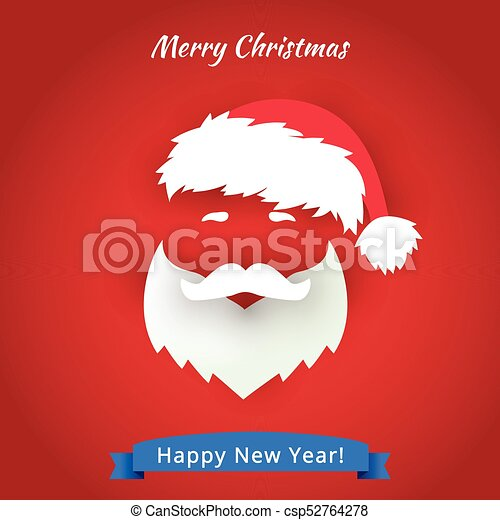 b386bfdda84fc Santa Claus hat and beard with red background - csp52764278