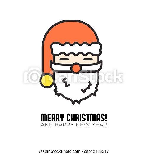 santa claus head isolated icon - csp42132317