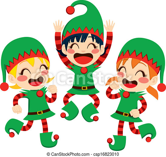 santa claus helpers dancing three little children dressed vector rh canstockphoto com