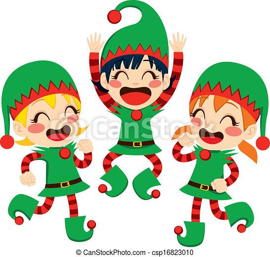 Santa Claus Helpers Dancing - csp16823010