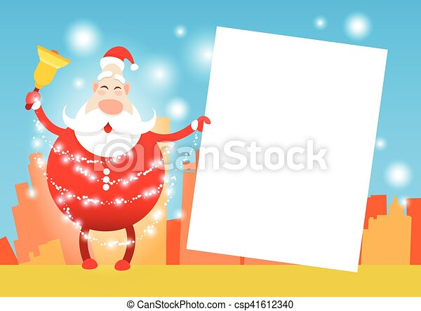 Santa claus hold banner christmas holiday happy new year greeting ...