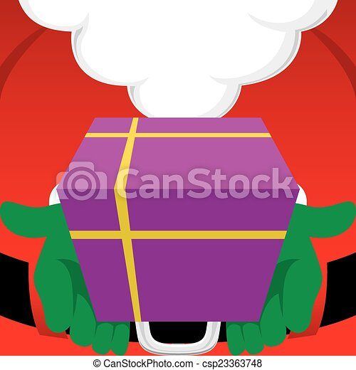 Santa Claus holding a wrapped Chris - csp23363748