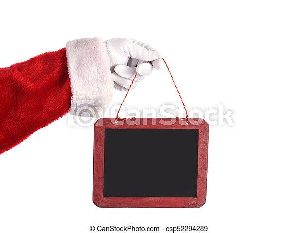 Santa Claus Holding Blank Chalkboard Sign - csp52294289