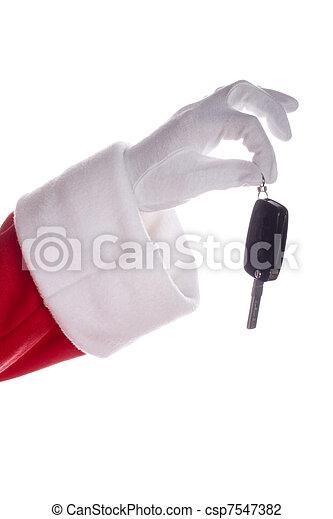 Santa claus holding car keys - csp7547382