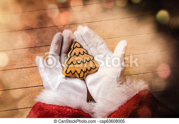 Santa Claus holding Chrstmas cookie - csp63608005