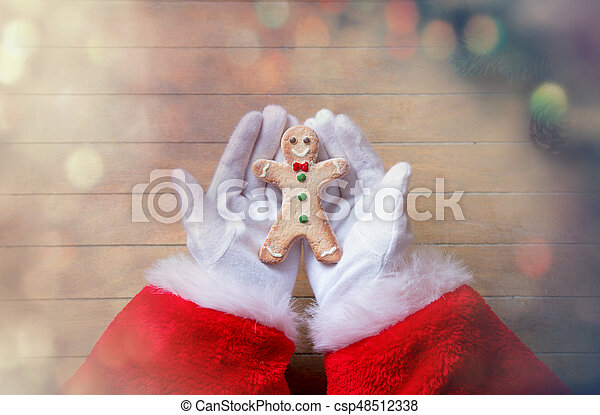 Santa Claus holding Chrstmas cookie - csp48512338