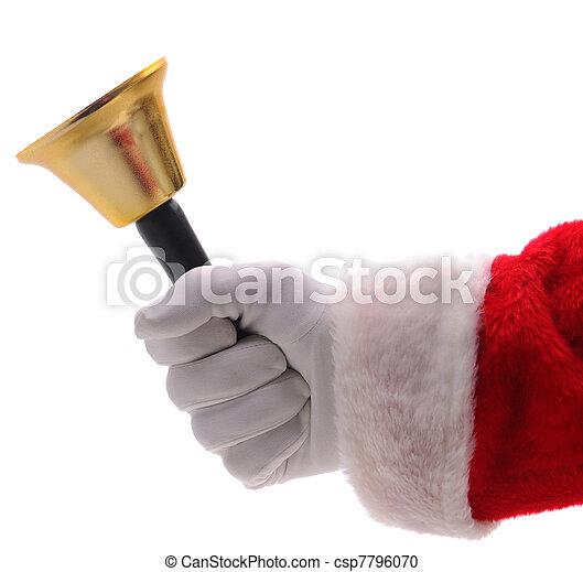 Santa Claus Holding Gold Bell - csp7796070