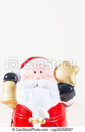 Santa Claus Holding Gold Star and Bell - csp32458067