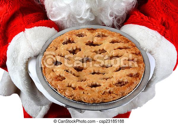Santa Claus Holding Pie - csp23185188
