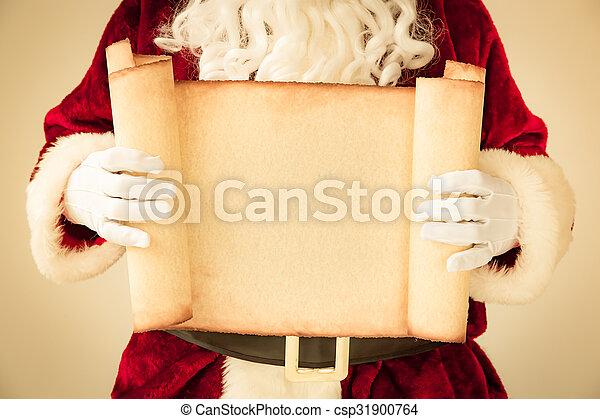 Santa Claus holding scroll paper blank - csp31900764