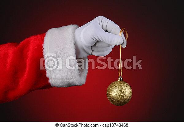Santa Claus Holding Tree Ornament - csp10743468