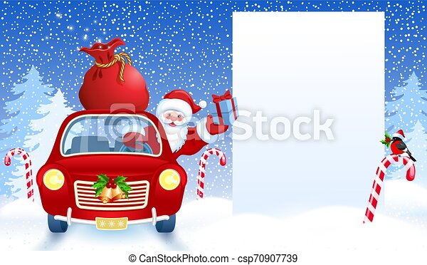 Santa Claus in retro car wit gift box anr big Christmas bag rides by billboard for layout congratulation or letter with list wish to Santa Claus or presentation - csp70907739