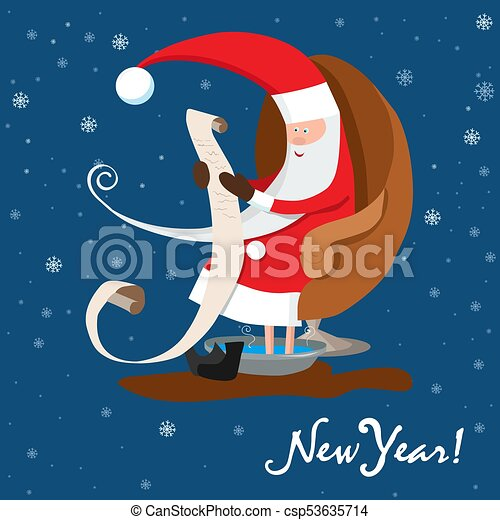 Santa Claus is reading letter. New Year wishes. Vector illustration - csp53635714
